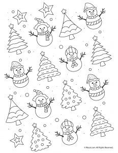 Easy Snowmen Adult Coloring Printable