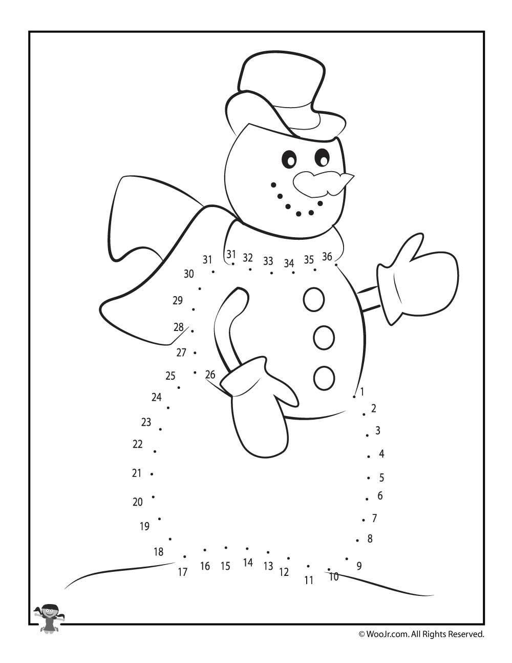 Winter Dot To Dot Printable Worksheets : Winter snowman dot to printable woo jr kids activities