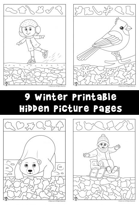 Winter Hidden Pictures Coloring Pages Woo Jr Kids