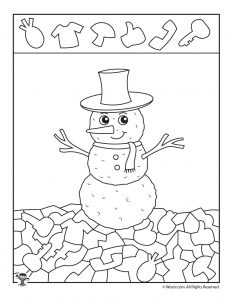 Winter Snowman Hidden Picture Printable
