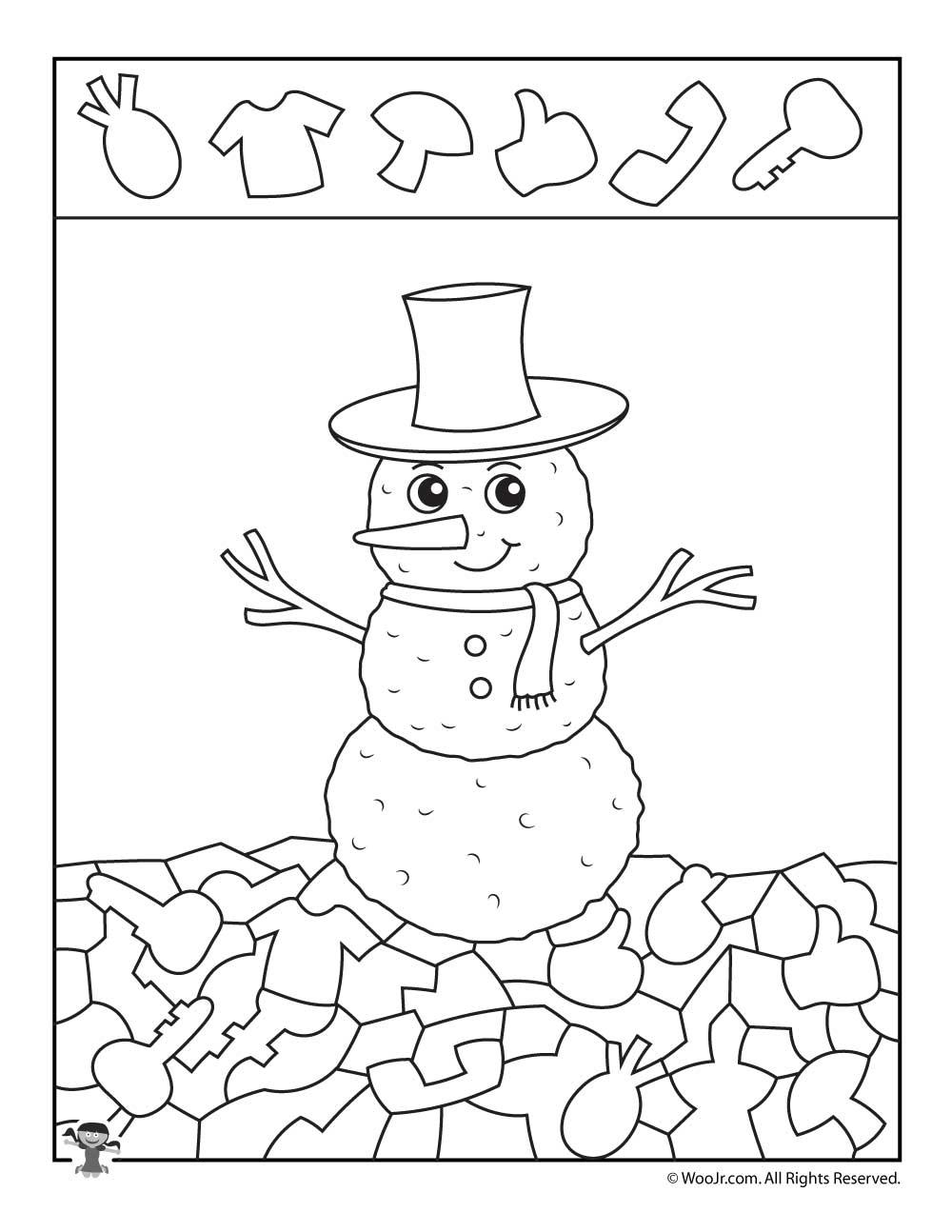 Winter Snowman Hidden Picture Printable Woo Jr Kids Activities