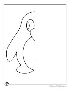 Penguin Mirror Drawing Worksheet Printable