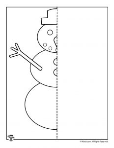 Winter Snowman Finish the Picture Drawing Activity