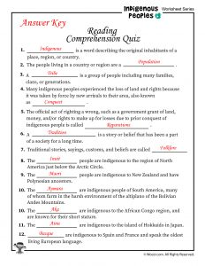 Indigenous Peoples Reading Comprehension Quiz - ANSWER KEY