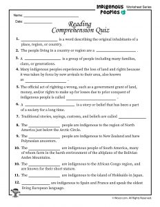Indigenous Peoples Reading Comprehension Quiz