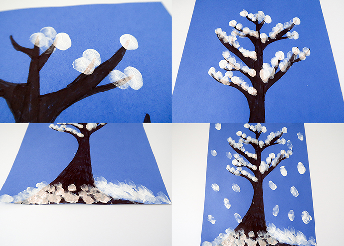 snowy tree finger painting winter art project for kids woo jr