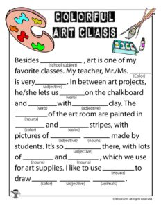 Colorful Art Class Printable Kids' Ad Libs