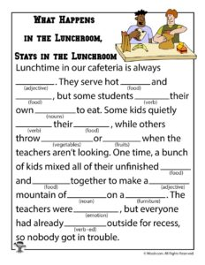 What Happens in the Lunchroom, Stays in the Lunchroom Funny Kids Ad Libs