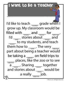 I want to be a Teacher Classroom Ad Lib