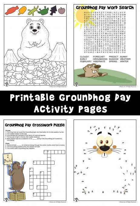 Printable Groundhog Day Activity Pages