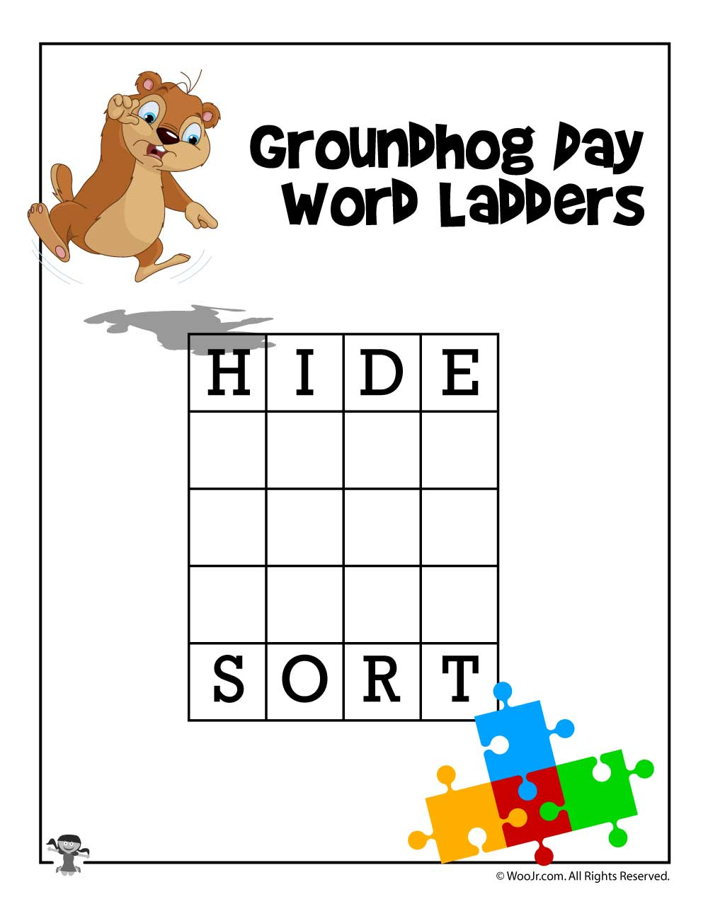 Worksheets Word Ladder Worksheets groundhog day 4 letter word ladder woo jr kids activities