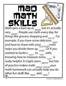 Mad Math Skills Ad Libs for Kids
