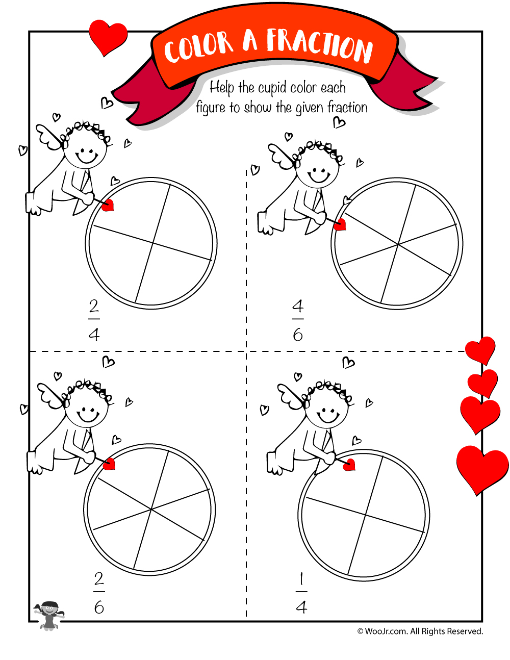 Worksheets Valentine Math Worksheets valentines day math worksheets for first and second grade woo jr cupid color the fraction