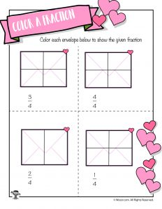 Valentine Card Color the Fraction