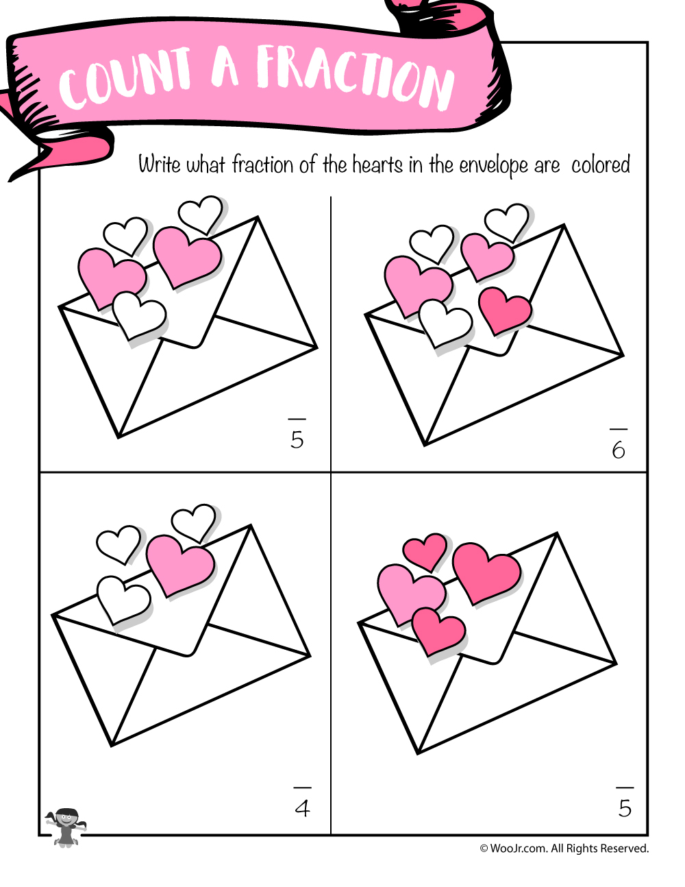 Worksheets Valentine Math Worksheets valentines day math worksheets for first and second grade woo jr hearts name the fraction