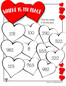 Valentine's Day Identify the Tens place Worksheet