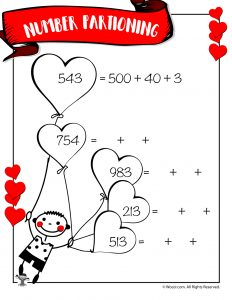Hearts Number Partitioning Worksheet