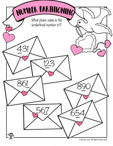 Ones, Tens and Hundreds Place Valentine Worksheet