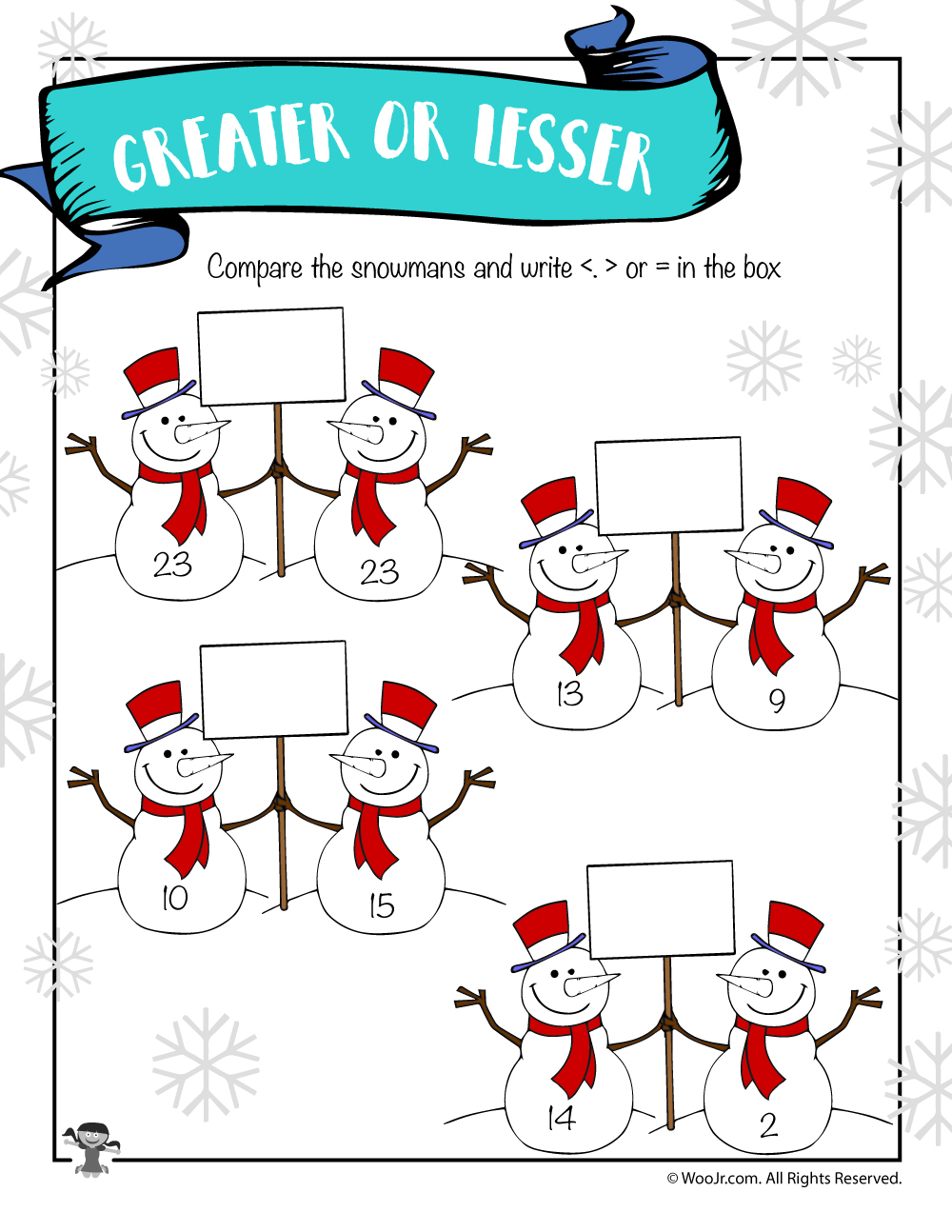 Winter Snowmen Greater Than Less Than Worksheet Woo Jr Kids