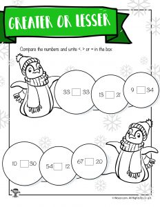 Winter Penguins Greater-Less Than Worksheet