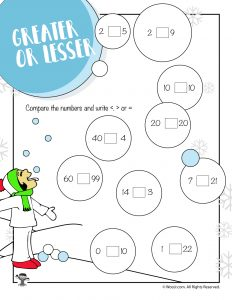 Greater, Less Or Equal Winter Math Worksheet