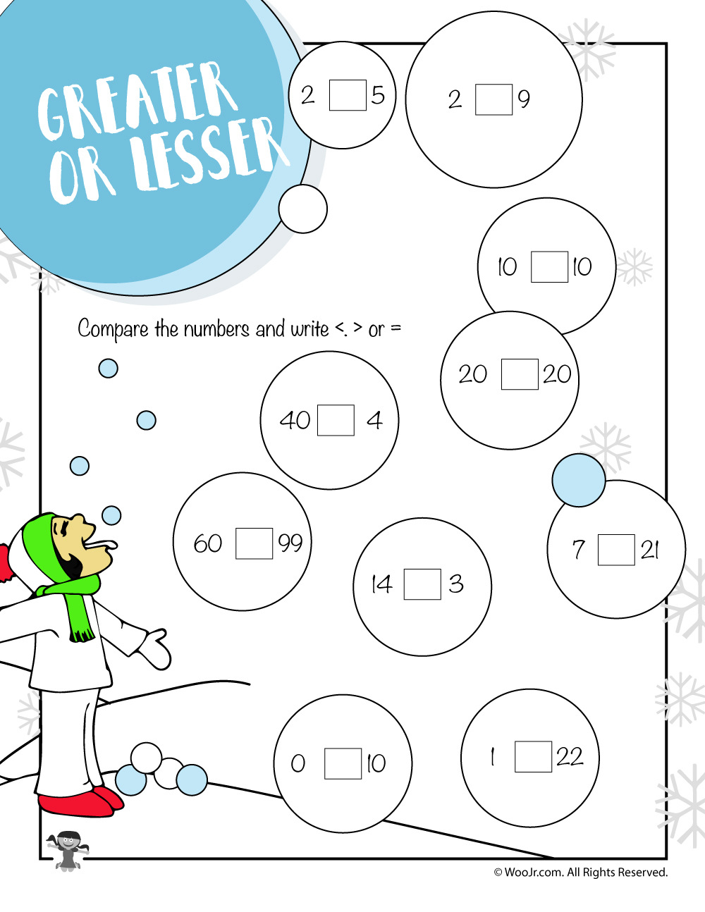 worksheet On The Button Math Worksheet greater less or equal winter math worksheet woo jr kids activities