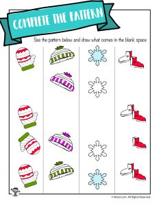 Winter Math Worksheet - Draw the Pattern Vertical
