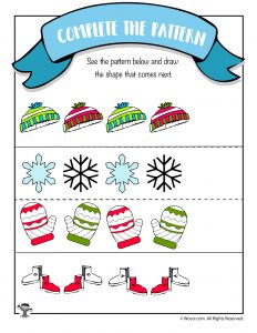 Winter Math Worksheet - Draw the Pattern
