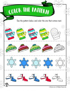 Winter Math Worksheet - Color the Pattern
