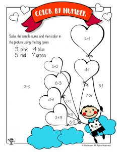 Heart Balloons Math Coloring Page