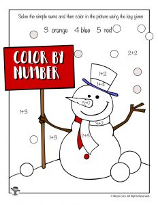 Math Color by Number - Snowman