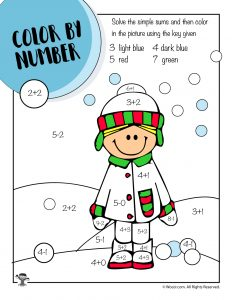 Math Coloring Worksheet - Snowballs