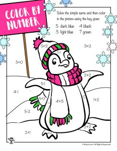 Winter Penguin Addition Coloring Page