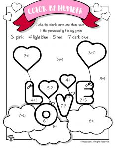Love Balloons Math Coloring Page