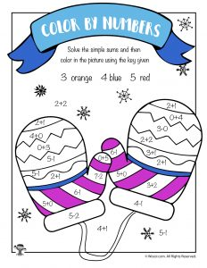 Winter Math Coloring Page - Mittens