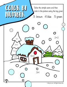 Winter Scene Math Coloring Worksheet