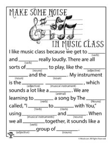 Make Some Noise in Music Class Ad Lib Activity