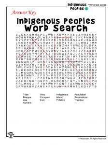 Native Peoples Word Search - ANSWER KEY