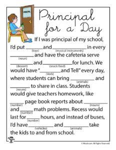 Principal for a Day Ad Lib Worksheet