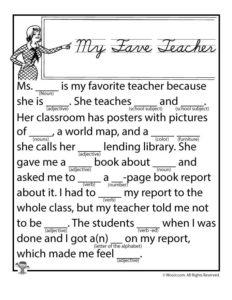 My Fave Teacher Printable Ad Lib