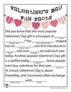 Valentines Day Fun Facts Printable Ad Lib