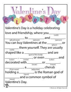 Valentines Day Celebration Ad Lib Printable