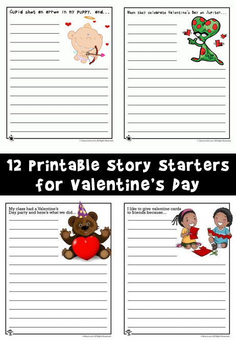 12 Printable Story Starters for Valentine's Day