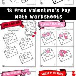 Valentine's Day Math Worksheets for First and Second Grade