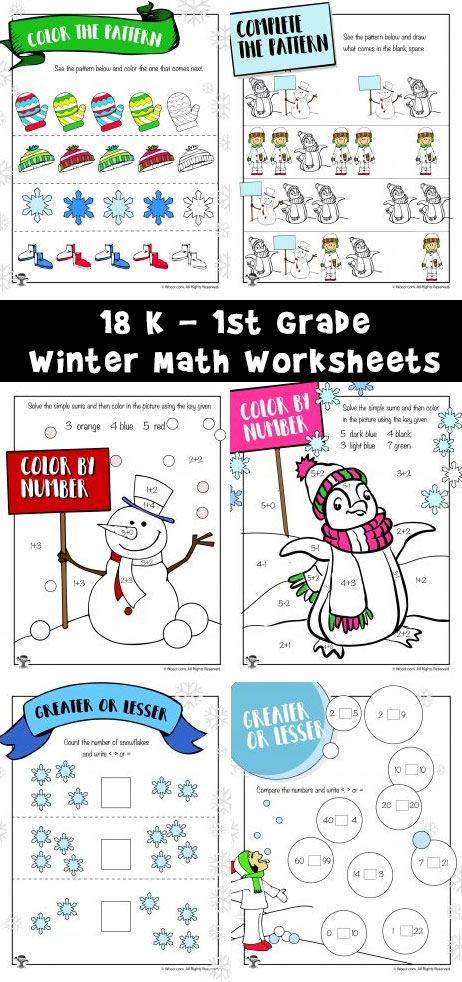 18 K - 1st Grade Winter Math Worksheets