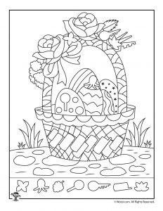 Easter Basket Hidden Picture Coloring Page