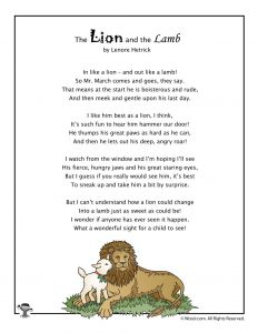 March Kids Poem The Lion and the Lamb