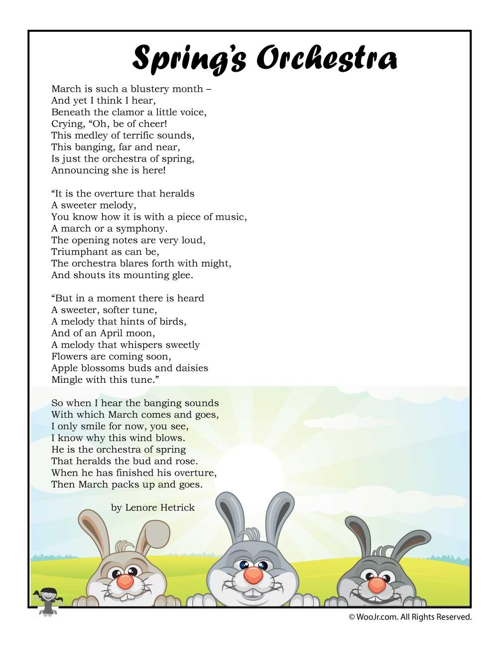 Springu0027s Orchestra Childrenu0027s Poem Printable | Woo! Jr. Kids Activities