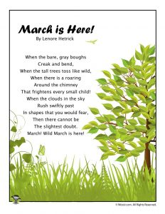 March is Here Poem for Children