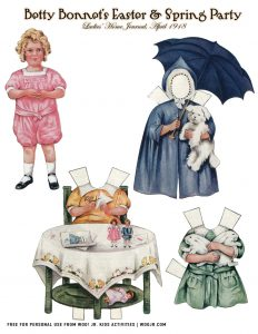 picture relating to Printable Vintage Paper Dolls identify Easter Betty Bonnet Printable Typical Paper Dolls Woo! Jr